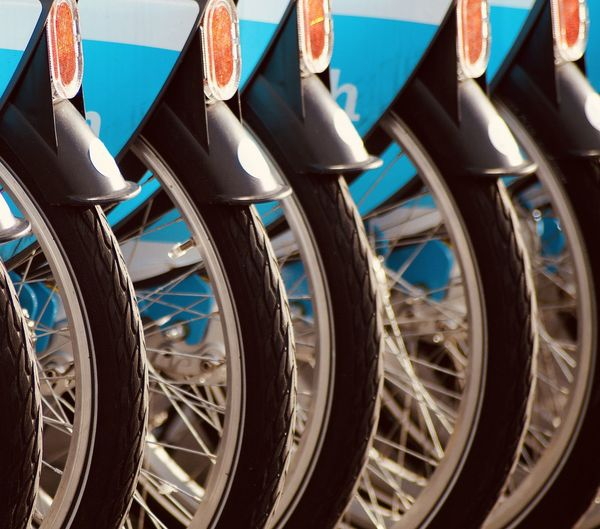 Close-up of bicycle tires