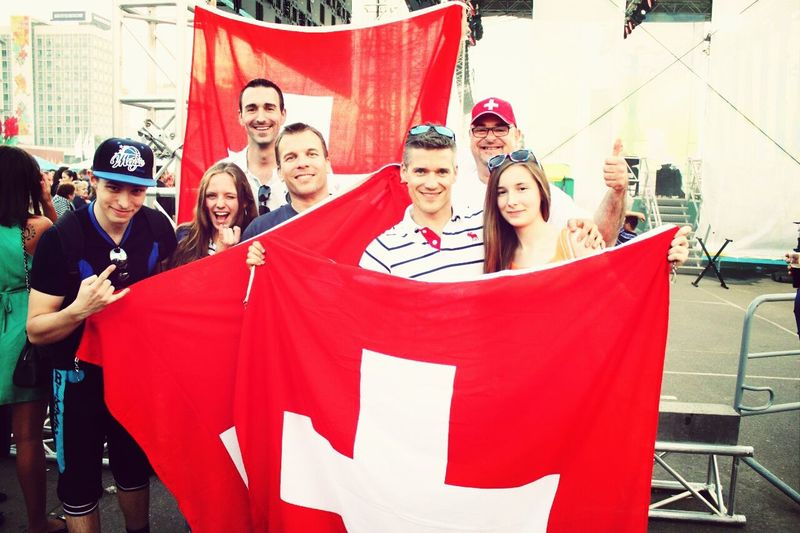 Hallo World Taking Photos Ice Hockey Competition IIHFIIHF World Championship2014 With Swiss Fan One Day Belarus Minsk