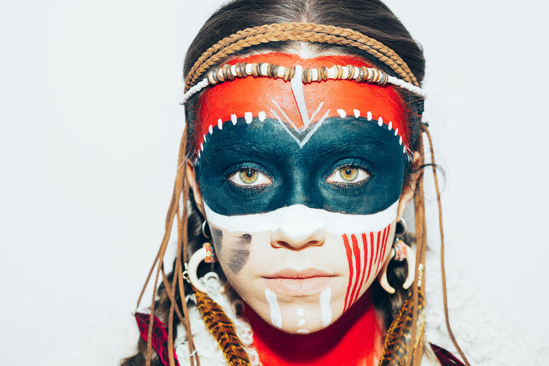 Portrait American Indian Ethnic Face Painting One Young Woman Only Women Woman One Person One Woman Only Young Women Headshot Looking At Camera Human Face Beautiful Woman Red Close-up Mask - Disguise Eyeshadow Eye Make-up Face Paint Stage Make-up International Women's Day 2019
