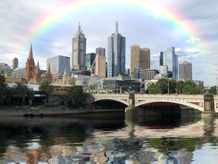 Color Curve Bridge Taking Photos Reflection Bright Vibrant Color River Water Australia Rainbow Melbourne Architecture Built Structure Building Exterior City Office Building Exterior Skyscraper Water Financial District  Office Modern Tall - High Urban Skyline Cityscape Building Nature Landscape Sky Waterfront