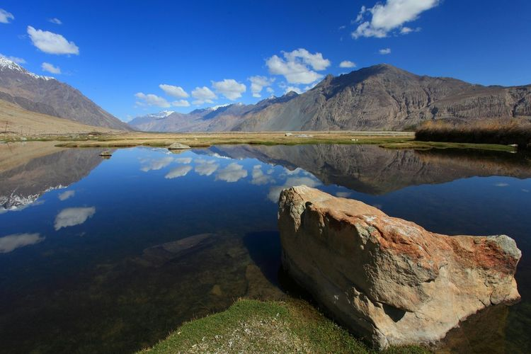 Scenic view of river with reflections in nubra valley