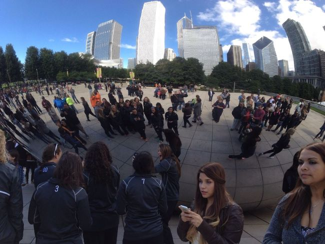I enjoy going downtown Chicago to see The Bean. This picture is of the been forecasting the cityscape in the people. Large Group Of People Architecture Travel Destinations City Life Tourism Chicago Pspauly63