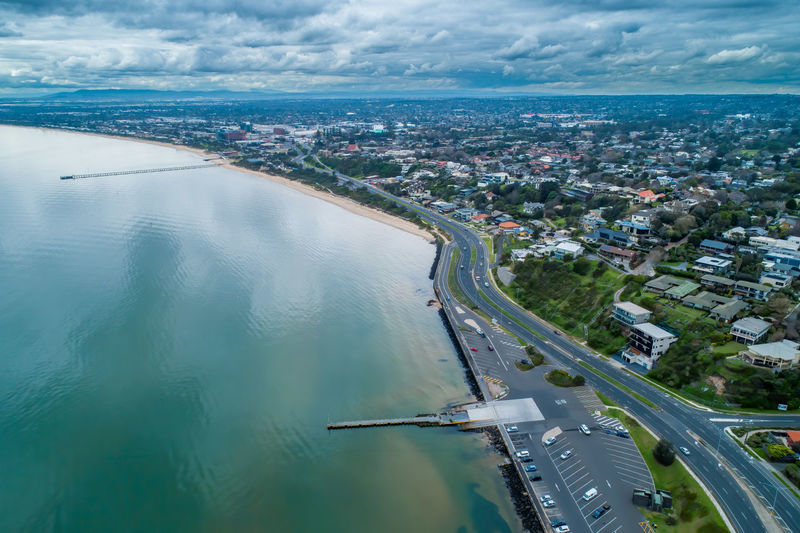 Aerial view of frankston suburb coastline on overcast day in winter. melbourne, victoria, australia