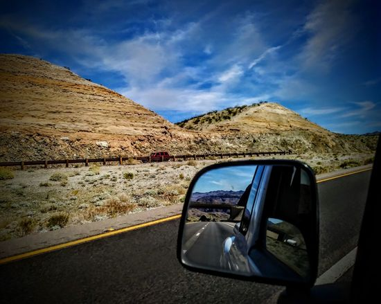 The Back and Fourth Landscape Rear View Nature Beauty In Nature Point Of View Outdoors Scenics Travel Landscape EyeEm Selects Mountain Photography Themes Desert Road Photographing Reflection Photo Messaging Vehicle Mirror Side-view Mirror Car Point Of View Highway Mountain Road Rear-view Mirror Winding Road A New Beginning