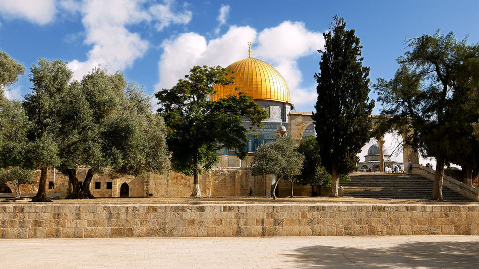 Architecture Building Exterior Built Structure Cloud - Sky Day Dome Dome Of The Rock Dome Of The Rock Jerusalem History No People Outdoors Place Of Worship Religion Sky Spirituality Travel Destinations Tree Water An Eye For Travel