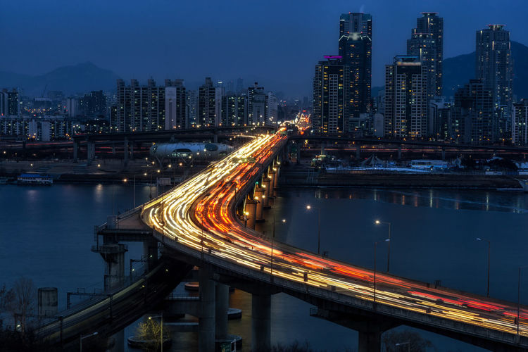 seoul night traffic view Architecture Bridge Bridge - Man Made Structure Built Structure City Connection Development Engineering Gangnam Illuminated Korea Long Exposure Night Night Photography Night View Residential District River Seoul Traffic Traffic Lights Cities At Night