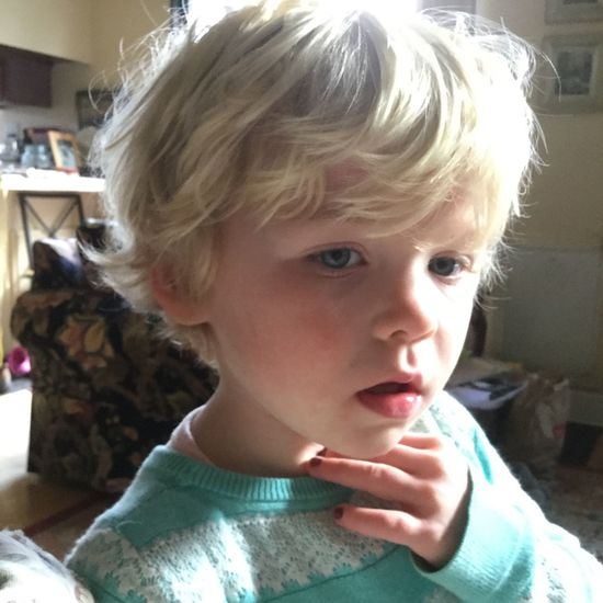 No filter, no edit. Just Violet showing me her hiccups. Little Blond Girl