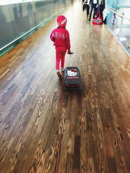 Travel Child Airport trip Luggage Carry On Children Innocence oslo Norway Be. Ready.