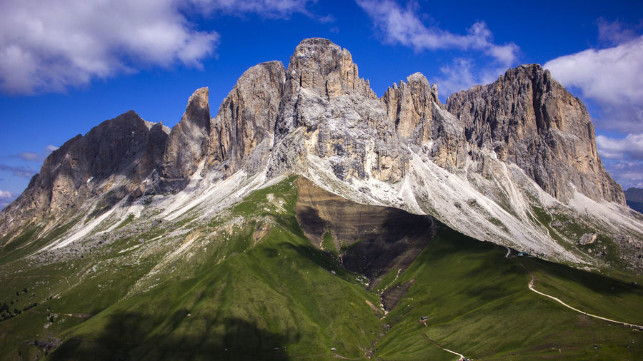 Scenic view of snowcapped mountains against sky in dolomites