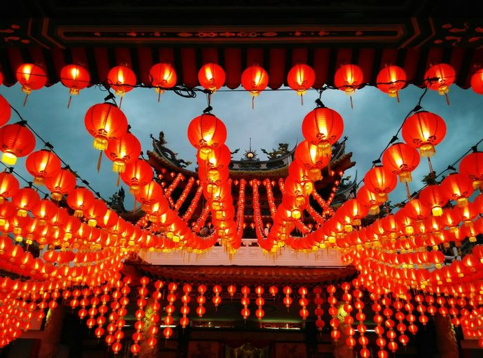 Red latern adorn Thean Hou temple. Design Pattern Chinese New Year Decor Lunar New Year