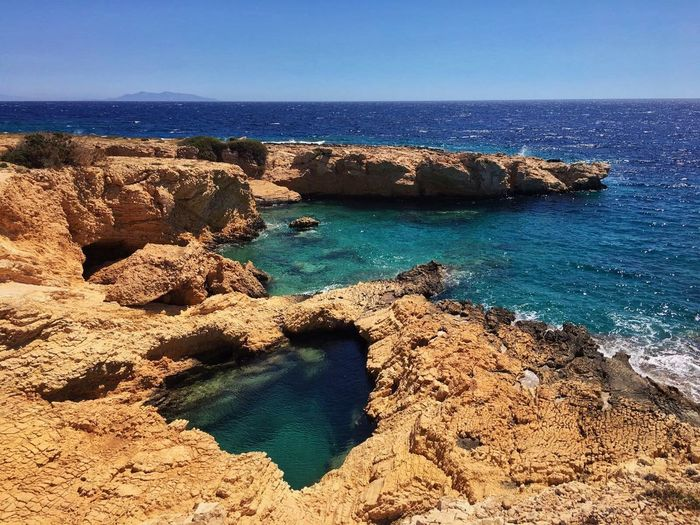 Koufonisia Greece Beach Beauty In Nature Blue Clear Sky Eroded Horizon Horizon Over Water Land Nature No People Outdoors Rock Rock - Object Rock Formation Rocky Coastline Scenics - Nature Sea Sky Solid Stack Rock Tranquil Scene Tranquility Water
