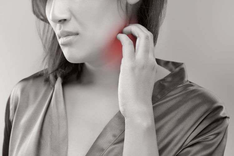 Digital Composite Image Of Woman Suffering From Neckache