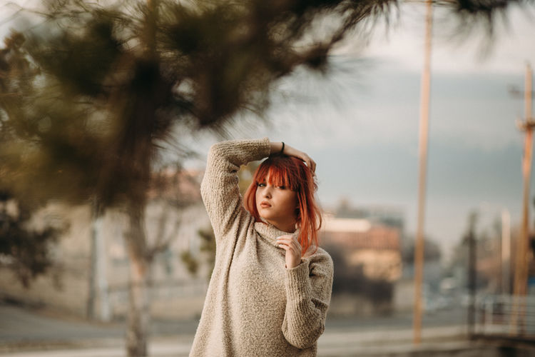 One Person Focus On Foreground Child Waist Up Clothing Childhood Tree Looking Portrait Girls Day Street Offspring City Casual Clothing Standing Women Sky Warm Clothing Outdoors Hairstyle Contemplation Scarf