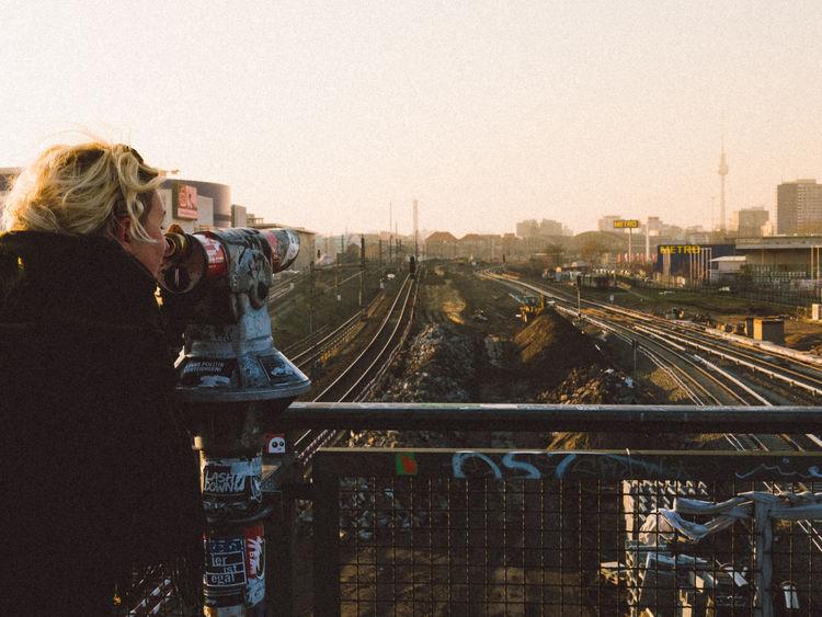 Urban view Berlin Urban Landscape Railroad Tracks Fernsehturm Warschauerbrücke Woman Sights