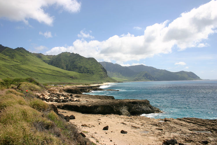 Beauty In Nature Calm Cloud Cloud - Sky Coastline Mountain Mountain Range Nature Remote Scenics Shore Sky Tranquil Scene Tranquility Travel Destinations Waianae Mountains WaianaeCoast Water