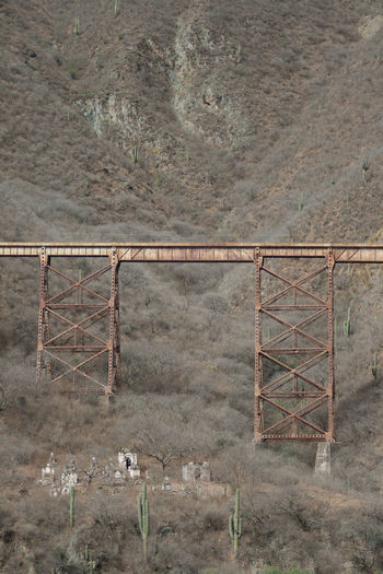 Old Railway Bridge Over Cemetery Against Andes Mountain