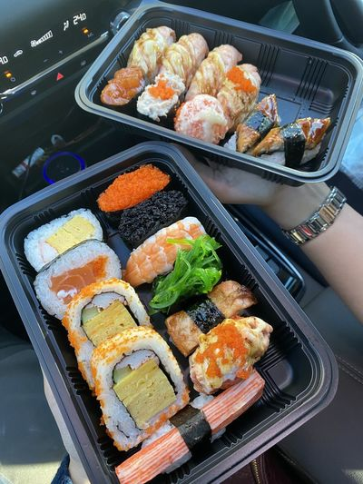 High angle view of sushi in tray