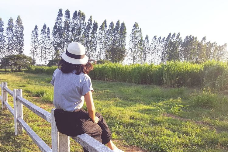One Person Day Casual Clothing Leisure Activity Outdoors One Woman Only People Summer Sun Hat Full Length Grass Adult Nature Only Women Sky Tree Freshness Traveler Lonely Sitting Farming Waiting For You Relaxing Time Nature Healing