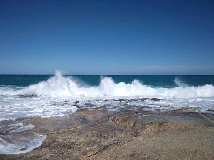 Malta Sliema Water Sea Sky Beach Wave Motion Beauty In Nature Clear Sky Horizon Horizon Over Water Rock