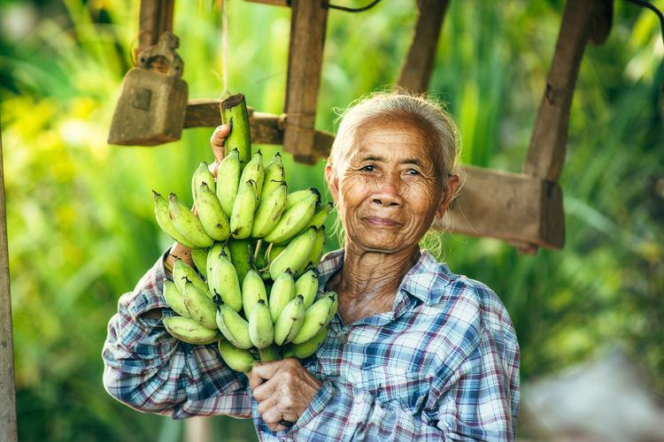 Portrait of smiling senior woman holding unripe bananas at farm
