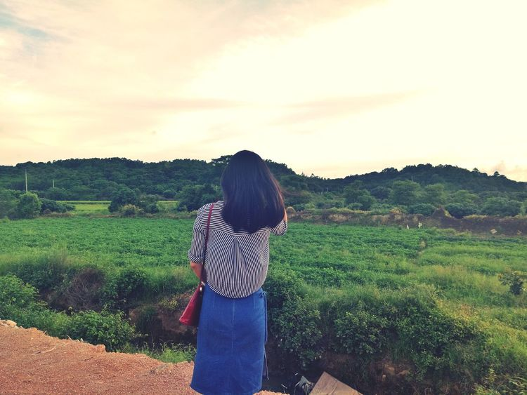A View Of My Back Countryside Breathing Fresh Air Waiting For Sunset Standing