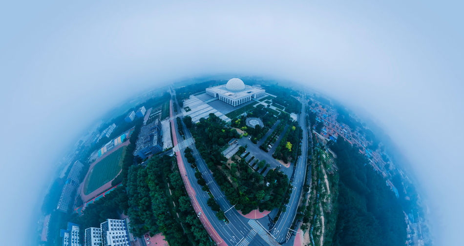 City, architecture, spherical panorama Building Exterior Architecture Outdoors City City Life City Street Cityscape Built Structure Summer Early Morning Landscape China Travel High Angle View High Angle View Clear Sky Modern Modern Architecture Fish-eye Lens Nature Sky Building Aerial View No People Panoramic Day Tree