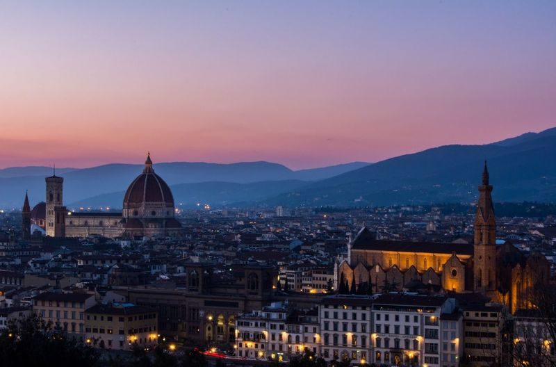Firenze Florence Tuscany Piazzalemichelangelo Light Colors Panorama Cityscapes Showcase March Blue Sky Sunset Italy