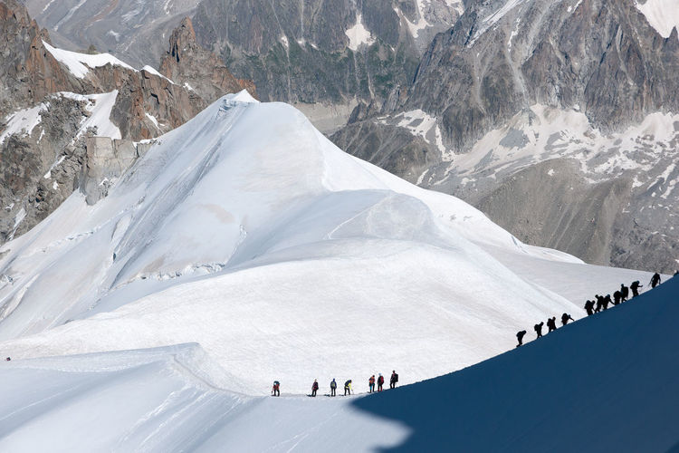 Aerial view of people on snow covered mountain