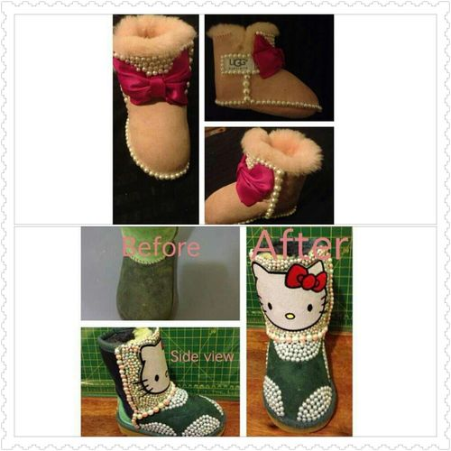 Uug Boots  I Want Both Of These 4 My Daughter .!  Cute , Green & Hello Kitty ,  Light Pink W / Dark Pink Bow