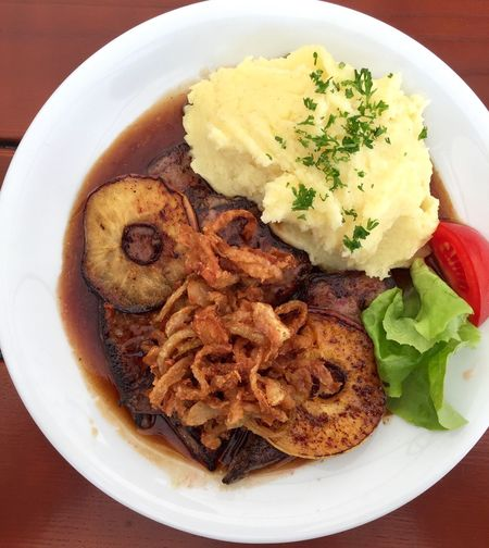 Food And Drink Food Ready-to-eat Plate Serving Size Freshness Meat No People Table Mashed Potatoes Liver Berliner Leber Applerings Sauce