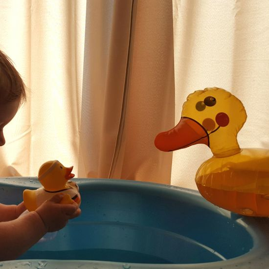 Summer memories Sunlight Childhood Indoors  Home Interior Playing Sitting Baby Toddler  Growing Up Ducks Bath Bathing Curtains Summer Splashing Cropped Baby Arm Having Fun Refreshment Rubber Duck Bath Tub Close-up Window Mommy Life Experience