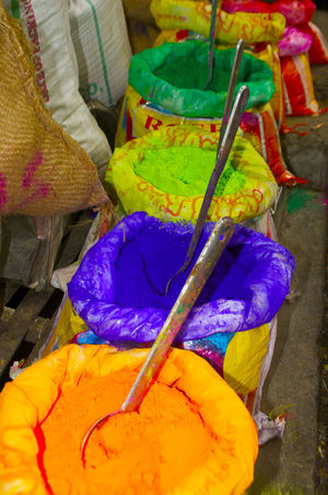 Holi powder in India Celebration Green Holi Festival Holi Festival Of Colours Holi ✌ India Indian Culture  Market Close-up Cultures For Sale High Angle View Holi Holi Powder Multi Colored Orange Color Powder Paint Purple Spring ındian Culture