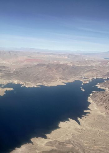 Lake Mead bluer than the sky. Infrastructure River System Colorado River Erosion Drainage Lake Desert Lake Mead Reservoir Nature Aerial View Scenics Beauty In Nature Tranquility Tranquil Scene Landscape Arid Climate Physical Geography Mountain Outdoors Sky