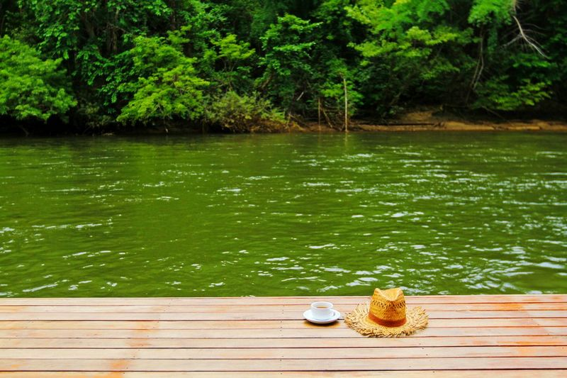 Water Tree Outdoors Lake Day Nature No People Forest Coffee Time Tea Hat Relaxing Chil Out Background Wallpaper Fresh Mornig Breakfast Wooden Green River View River Straw Hat Quiet Moments Traveling