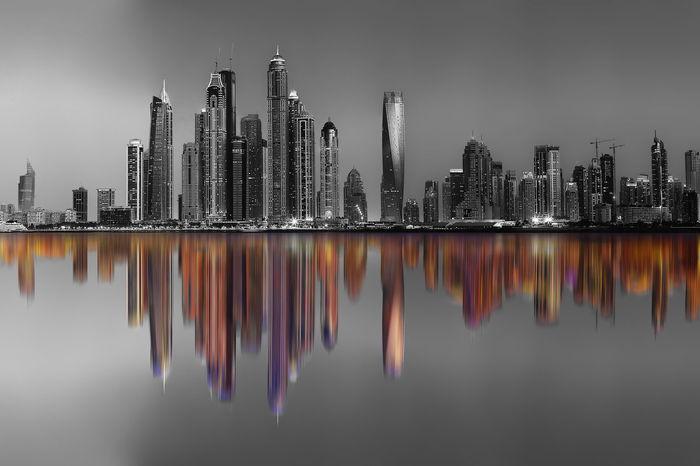 Black & White City Cityscape Colors Dubai Dubai❤ Reflection Skyline UAE UAE , Dubai Black And White Blackandwhite Blackandwhite Photography Buildings Cityscapes Color Colorful Dubaicity Dubaimarina Jumeirah Reflections Sky Skyscraper Tower Towers