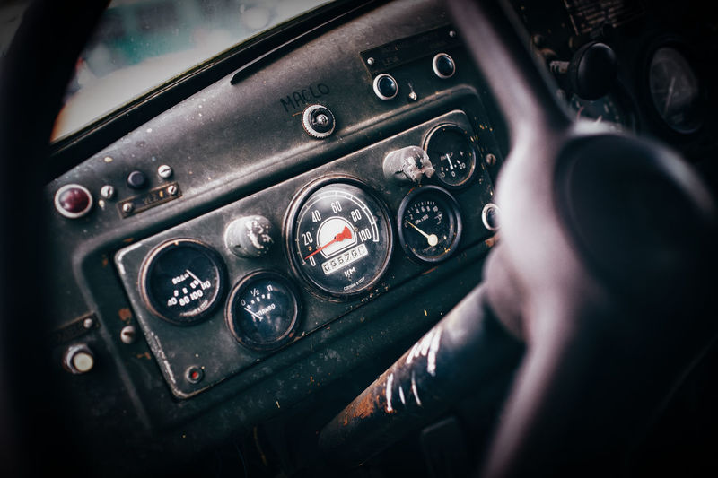 Close-up of car dashboard