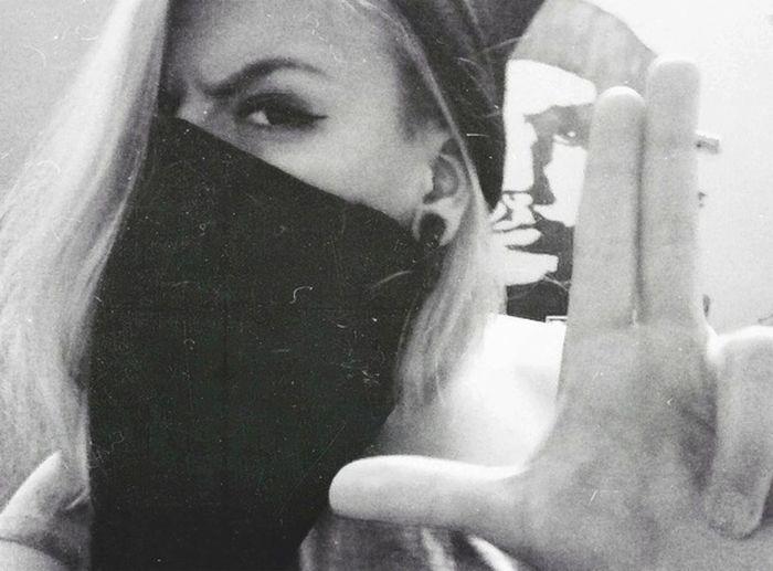 Gansta Girl Blond Hair Black & White