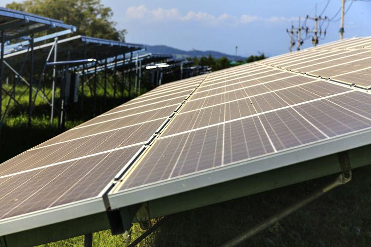Solar panel against sky