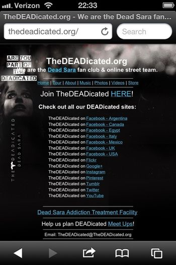 A great place to find All Things Dead Sara: www.thedeadicated.org