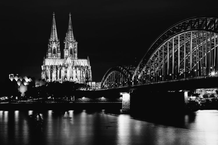 Architecture Built Structure Building Exterior Travel Destinations Night Bridge Water Bridge - Man Made Structure Connection City Building Place Of Worship Religion Illuminated Travel Tower River Tourism Arch No People Outdoors Spire  Arch Bridge Gothic Style Köln
