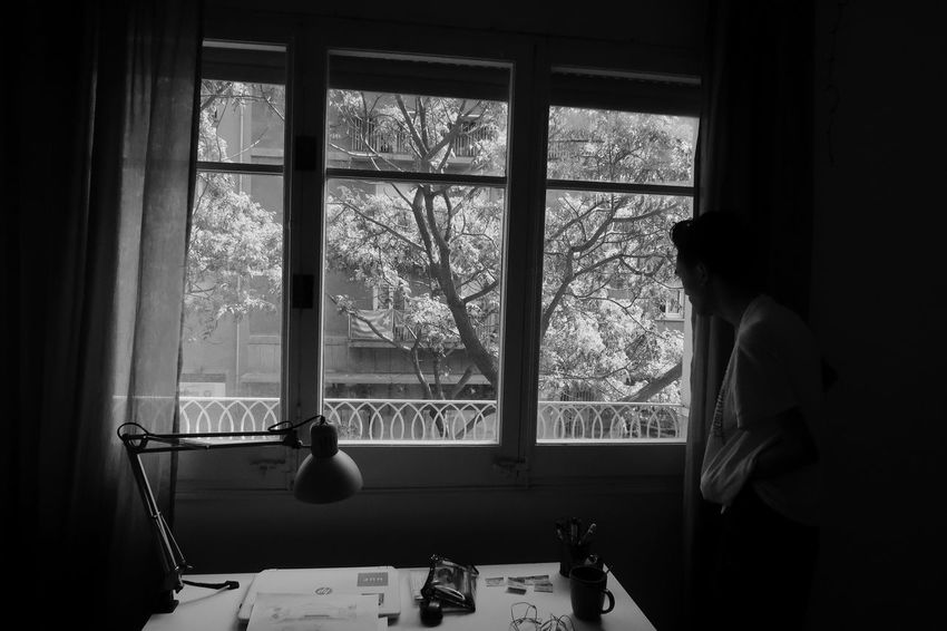 Today, Tomorrow Photography Blackandwhitephotography Strangers Aesthetic Grunge Blackandwhite Men Raw Eye4photography  RAWphotography Shadows EyeEm Best Shots - Black + White Youth Present Window Home Interior Domestic Room Window Sill Looking Through Window Transparent