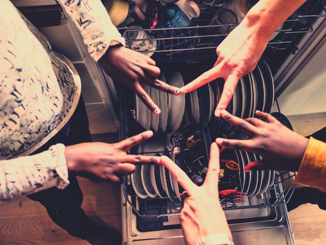 Household Happy People Happiness Fingers Hands Multicolored Multicolors  Multi Colored Mixed Color Mixed Colours Family Time Family Portrait Happy Time Family Matters Kitchen Stories Peace Peace ✌ Peace Gallery Peace Sign  Peace Signs Fingers Handshape Hands Touching Hands Together Dishwasher