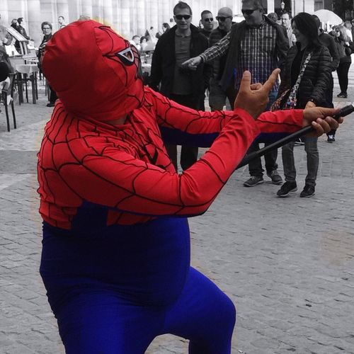 Picturing Individuality Spiderman Streetshowman Streetphotography Smile Colors Blue Red Spider