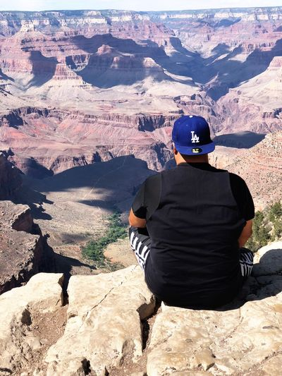 LASwag Reppin' #grandcanyon #losangelesdodgers #Nature  One Person Rear View Real People Leisure Activity Nature Sunlight Land Men Lifestyles Day Adult Outdoors Scenics - Nature High Angle View Sunny Environment Clothing Beauty In Nature