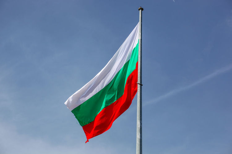 Bulgarian Flag High In Heaven Flag Sky Patriotism Low Angle View Environment Nature Pole Multi Colored No People Waving Wind Day Emotion Cloud - Sky Red Striped Blue Pride Outdoors National Icon Bulgaria Bułgaria Bulgarian Bulgaria❤️