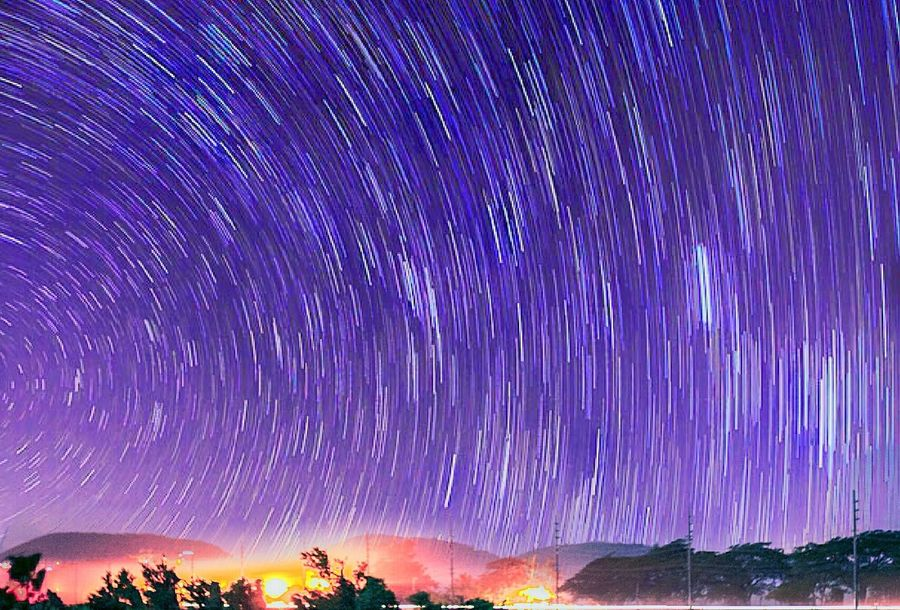 Purple Sky Beauty In Nature Nature Night Scenics No People Star Trail Star - Space Astronomy Galaxy Outdoors Tranquil Scene Milky Way Illuminated Creativity Fine Art Still Life Capture The Moment Check This Out HDR EyeEm Best Shots Whats On The Roll Weekend On Eyeem Outdoor