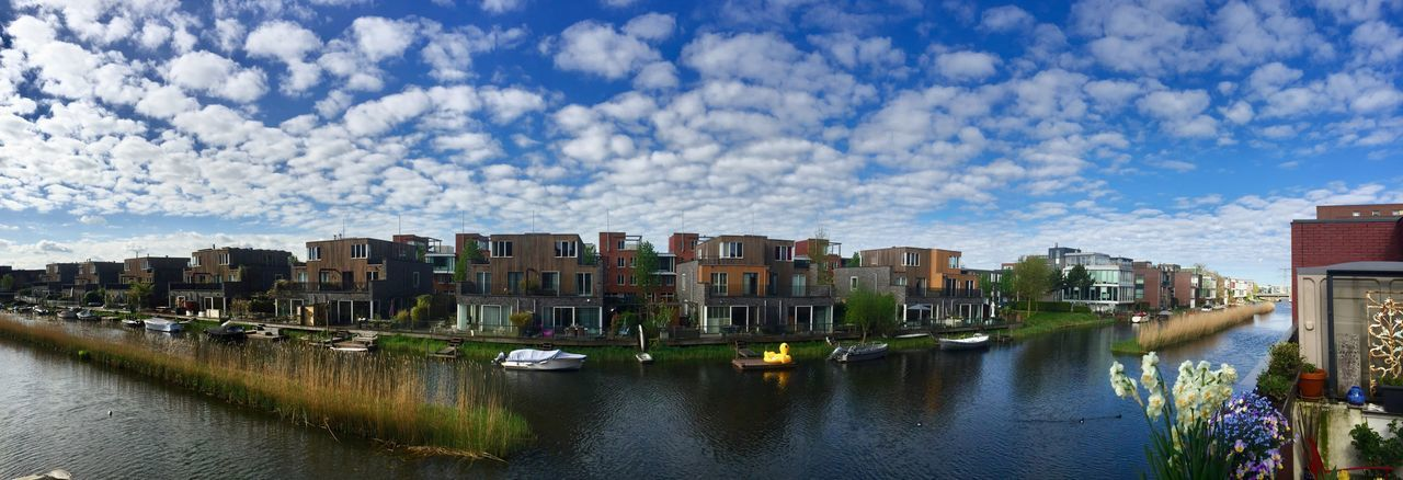 Panorama IJburg Groene Tunnel Dutch Skies Dutch Landscapes Amsterdam Building Exterior Architecture Built Structure Water City Sky Building Cloud - Sky Waterfront