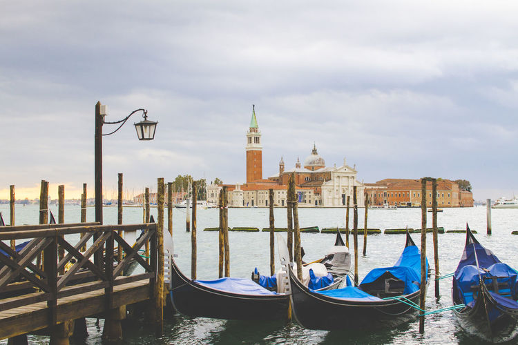 Architecture Bell Tower - Tower Building Exterior City Cloud - Sky Cultures Day Gondola - Traditional Boat Italy Italy❤️ Moored Nautical Vessel No People Outdoors Place Of Worship Sky Tower Travel Destinations Venice Venice, Italy Water