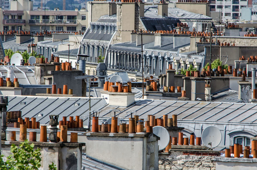 Roofs of Paris Chimney Architecture Building Exterior Built Structure City Cityscape Day No People Outdoors Park Residential Building Roof Sky Town Zinc Roof