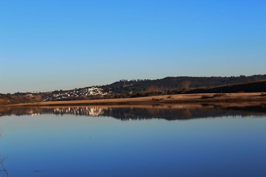 brown over blue. River Tagus River Water Clear Sky Tree Blue Mountain Lake Reflection Sky Landscape EyeEmNewHere